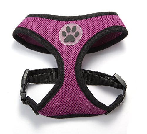 PUPTECK Soft Mesh Adjustable Pet Walking Harness for Dogs Purple Extra Large 1
