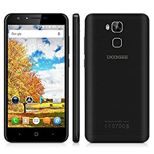 DOOGEE Y6 5.5 inch Large Screen 4G Smartphone Android 6.0 Marshmallow MT6750 Octa Core 1.5GHz Mobile Phone 2GB RAM 16GB ROM 3200mAh Fingerprint Recognition Quick Charge Smart Wake Gesture Sensing Dual SIM Cellphone (Black)
