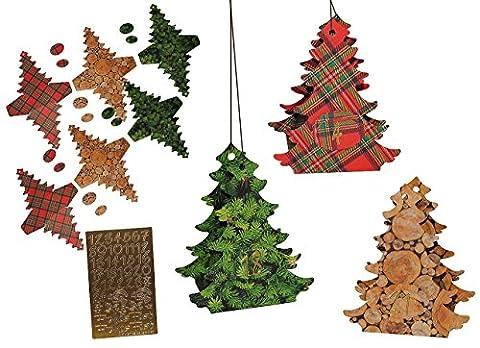 XL BASTELSET Weihnachtskalender - 24 Tannenbäume zum Aufhängen / Hinstellen + Befüllen - selber Basteln - für Erwachsene / Kinder / Mädchen Jungen - Adventskalender Weihnachten - SelbstBefüllen - Aus Papier Kleben / machen