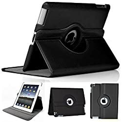 Black iPad 360 Degree Rotating Magnetic Leather Case Cover Stand For Apple Ipad 2/3/4