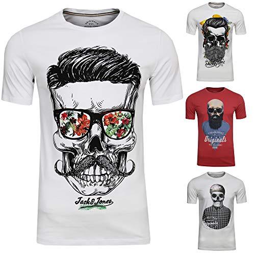 Skull Jack (JACK & JONES Herren T-Shirt JORsoytan Tee SS Crew Neck Skull Print, (4er Set,S))
