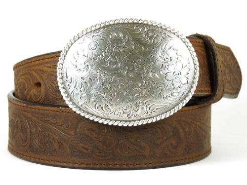 Für Männer Western Gürtel Leder (Nocona USA Western Gürtel Floral Oval Buckle Cowboy Cowgirl 34