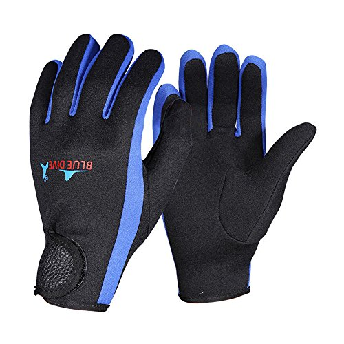 Yeshi Unisex Soft Lightweight High Elasticity 1.5mm Neoprene Winter Sport Swimming Snorkeling Diving Gloves For Scuba Diving, Winter Swimming, Rafting, Canoeing ,Water Sports size M (Blue)