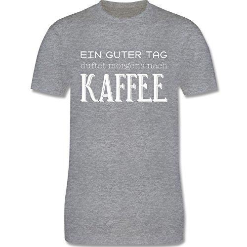 Küche - Ein guter Tag duftet morgens nach Kaffee - Herren Premium T-Shirt Grau Meliert