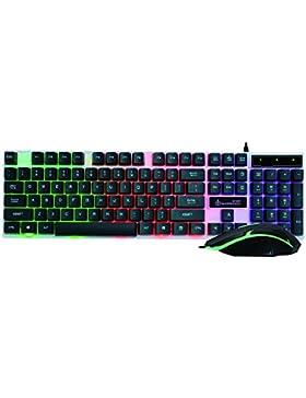 magiyard LED Rainbow Color retroilluminazione a Set di set regolabile USB Tastiera Mouse con cavo set multicolore...