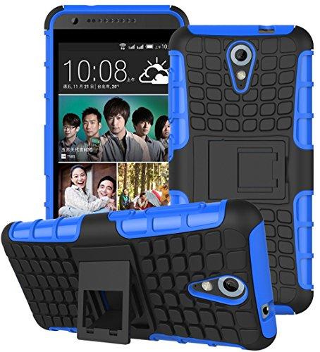 HTC Desire 620 / 620G Hülle Nnopbeclik Hybrid 2in1 TPU+PC Schutzhülle Cover Case Silikon Rüstung Armor Dual Layer Muster Handytasche Backcover 360-Grad-Drehung ständer stoßfest Handy Hülle Tasche Schutz Etui Schale Bumper Pour HTC Desire 620 / 620G [Schwarz+Blau]