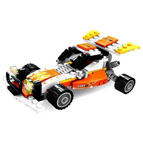 Giocattoli per bambini - GALOOK - I bambini da corsa Model Car Building Blocks Change 3 modelli di fai da te di montaggio dei giocattoli Combinazione Kit 146 Pz (giallo)