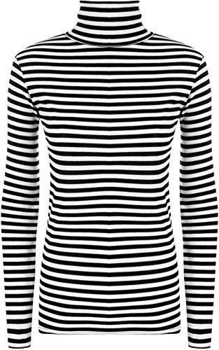 WearAll - Damen Einfarbig Gestreift Druck Polo Kapuze Hals Strecke Lang Hülle Top - Schwarz Weiß - 40-42 (Weißes Kapuzen-shirt)