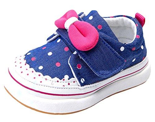 EOZY Baby Mädchen Lauflernschuhe Schleife Schuhe Sneaker Blau 18 Innerlänge 12.5cm