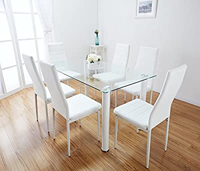 Lunar Rectangle Glass Dining Table Set and 6 White Faux Leather Chairs Seats - cheap UK dining table store.
