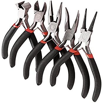 5pcs Mini Pliers Tools Set Jewellery Making Beading Kit Wire Cutter Round Bent Flat Nose Red