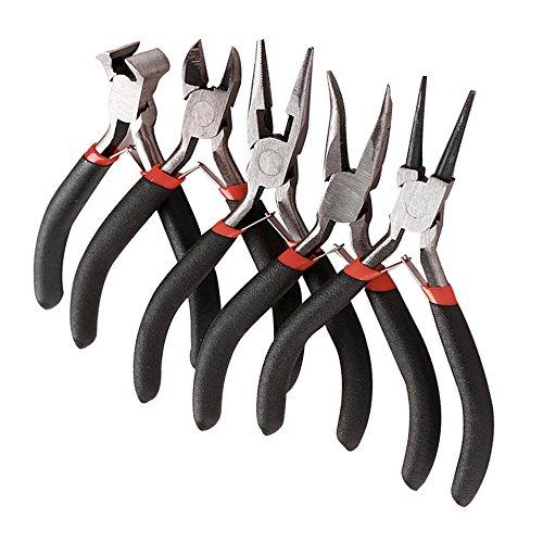 Mini Zange Set 5 Stück Schmuckzangen Set für DIY Schmuck Handwerk -Lange Nadel Runden Nase Linienrichter Zange