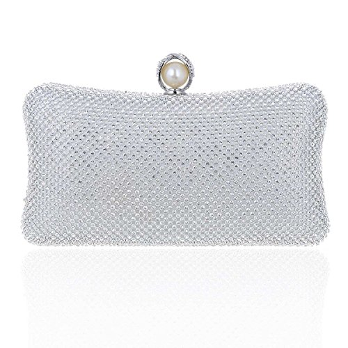 Damara® Perle Damen Bankett Glitzernd Umhängetasche Abendtasche Silber