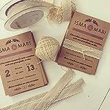 Diseño Box- Invitación boda lavanda impresa en papel kraft, sello de los novios en varios colores