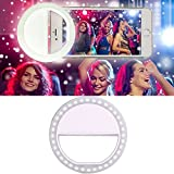 Vandot Clip-on Selfie LED Handy Ring-Licht für iPhone 6 6s Samsung Galaxy S7 S7 Edge HuaWei P9 Lite HTC Nokia iPad und andere Smartphones Universal Enhancing Nacht Front Kamera Leuchtend Ringleuchte Dimmbare Fotolicht LED-Leuchtring Light - Weiß