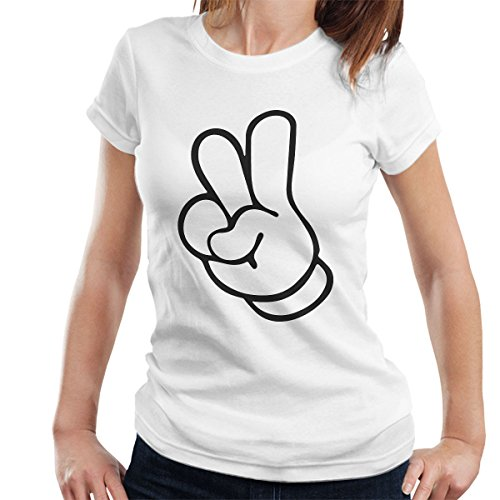Disney Mickey Mouse Hands Peace Sign Women's T-Shirt White