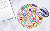 Mauspad Mousepad Blumen Blumen Mauspad Aquarell Mauspad Mousepad Kreise Regenbogenfarben Blumen Rechteckig Büro Untersetzer