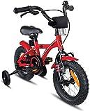 Prometheus Bicicleta Infantil | 12 Pulgadas | niño y niña | Rojo Negro | A Partir de 3 años | con ruedines y Freno de contrapedal | 12' Modelo BMX 2019