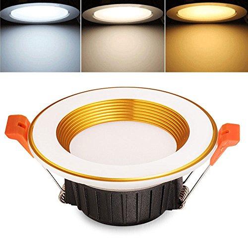Verlight LED Drei-Farben-Dimmbare Downlight Spot Lampe Wohnzimmer Schlafzimmer Nein Stroboscopic Einbau-Deckenleuchte Blendfreie Energiespar-Strahler Cut 65-85mm (Größe : 3W-3in)