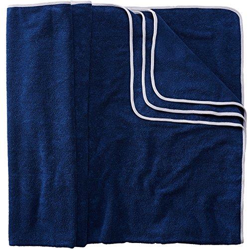 Sowel Strandtuch XXL aus 100% Baumwolle, Badetuch Badehandtuch Groß für Familie, Kinder und Paare, 160 x 200 cm, Navy/Grau (Extra Großes Baby Badetuch)