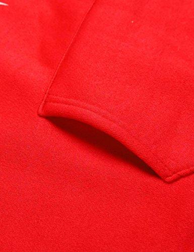 Lonlier Femme Sweatshirt à capuche manche longue imprimé pullover veste Automne Hoodie Rouge