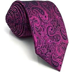SHLAX&WING Luxury Corbatas Para Hombre Morado Cachemir for Boda Party 147cm