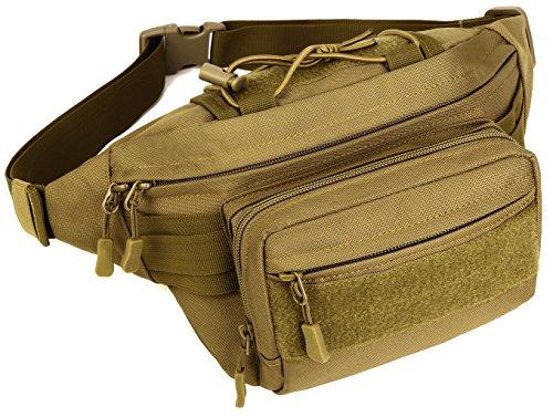 DCCN Tactical Militär Bauchtasche Waistbag mit 4 Fächer inkl. Reißverschluss für Outdoor Sport Trekking Wandern Laufen Reisen