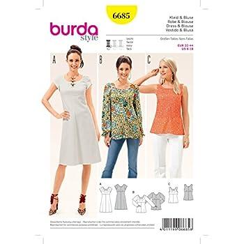 Burda Damen Schnittmuster 6685 Top, Bluse & Kleid + GRATIS Minerva ...