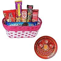 SFU E Com Holi Chocolate Basket Hamper   Holi Special Chocolate Gift   Premium Chocolate Hamper   Holi Pooja Thali   Pack of Chocolate Box-1   151