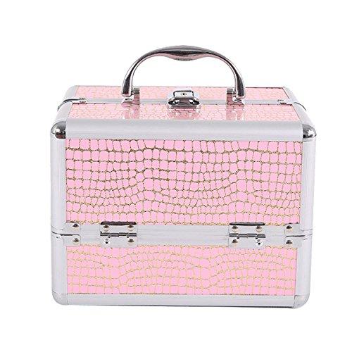 Étui Cosmétique En Cuir PU Pour Femmes Professionnel MakeUp Sac Organisateur D'artiste Grande Taille Multicouche Portable Boîte De Rangement,Pink-OneSize
