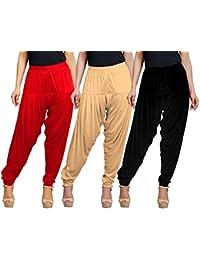 Eazy Trendz Women's Viscose Lycra Solid Patiala Pack Of 3-SKIN_BLACK_RED