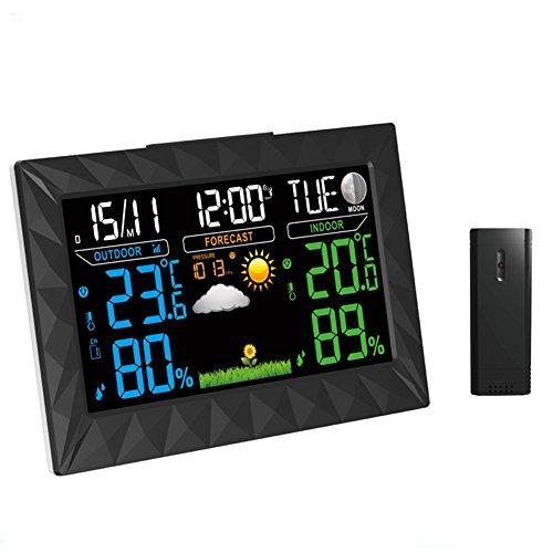 MFFACAI Wireless Weather Forecast Wecker Indoor und Outdoor Temperatur und Luftfeuchtigkeit Clock