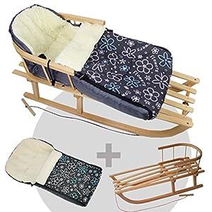 RAWSTYLE *KOMBI-PAKET* Holz-Schlitten mit Rückenlehne & Zugseil + universaler Winterfußsack (90cm) LAMMWOLLE, auch geeignet für Babyschale, Kinderwagen, Buggy