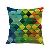 Kissenbezug 45cm x 45cm Farbiges abstraktes Geometrie Flachs Schlafsofa Home Decor kissenhülle Taille Wurf Kopfkissenbezug Pillow Cover (C)