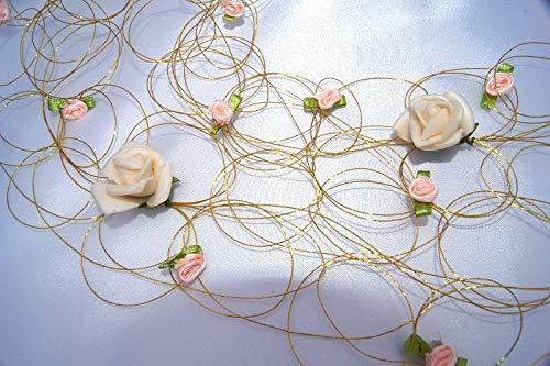 tatjana-land-deko 1,30 cm Rosengirlande Goldene Hochzeit Gold Rosen Tischdeko Dekoration K113 (Creme) (Land Hochzeit Dekorationen)