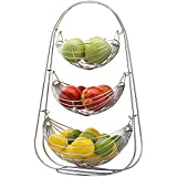 Plantex Stainless Steel Triple Step Swing Fruit & Vegetable Basket for Kitchen/Fruit Basket for Dining Table/Fruit & Vegetable Storage Basket