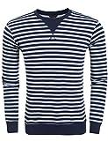 Burlady Herren Tshirt Langarm Basic T-shirt Gestreift Pullover Freizeit