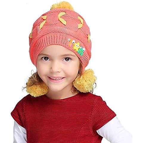 Outreo Beanie Hat Berretto a Maglia Bambino Caldo Cappello Maglia Ragazze Protezioni Calde Morbide Moda Pom Pom Cap