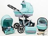 +++ SALE Raff Largo System Kinderwagen Babywagen Buggy, Autositz Kinderwagen System 3 in1 + Wickeltasche + Regenschutz +Insektenschutz (Set 3w1: Wanne + Sportsitz + Babyschale, mint)