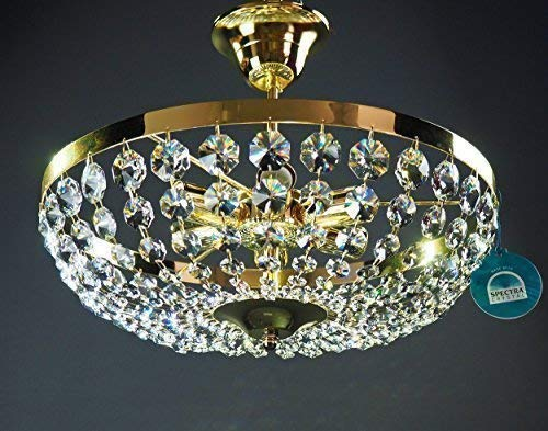Messing, Swarovski Spectra Kristall-kronleuchter (KRONLEUCHTER DECKENLEUCHTER Ø40cm 6 Leuchten gefertigt aus SPECTRA CRYSTAL von SWAROVSKI Gold)