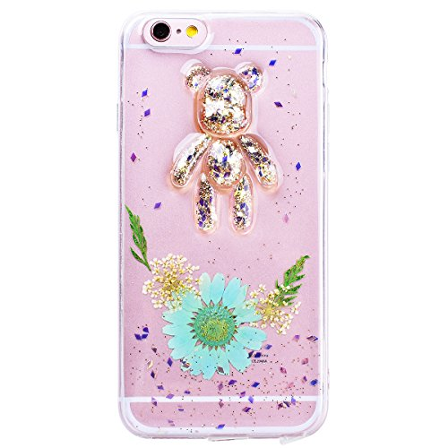 WE LOVE CASE Coque iPhone 6, Transparent Souple Gel Coque iPhone 6S Silicone Paillette Glitter Motif Fleur Ours Fine Coque Girly Resistante, Coque de Protection Bumper Officielle Coque Apple iPhone 6  Menthe