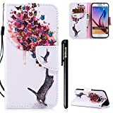 BtDuck Galaxy S6 Hülle,Handyhülle Samsung Galaxy S6 Tasche Leder Case Schutzhülle Etui Tasche für Samsung Galaxy S6 Handyhülle Ledertasche Geburtstagsgeschenk - Schmetterling