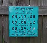 Evan332Eddie Our Love Story Hochzeitsschild, Personalisiertes Hochzeitsgeschenk, Verlobungsgeschenk, Paar, Datumsschild, 5. Jahr, Holzhochzeit