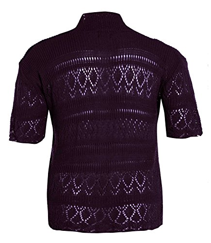 neuen Frauen Crochet Knit Cardigans Fischnetz Bolero Top 44-54 Purple