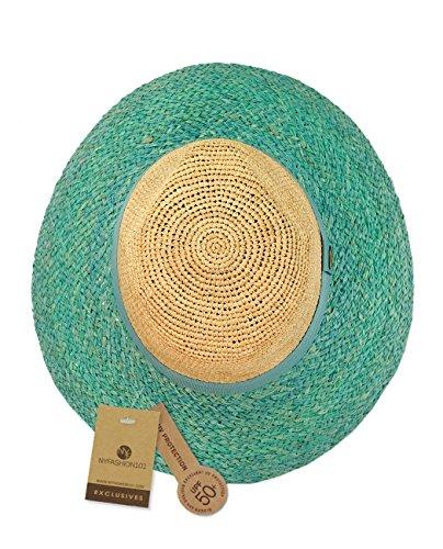 Chapeau Fedora d'été de style Panama en paille raphia tressée 2 tons, accentué d'une bande de couleur. Produit offert par NYFASHION101. Menthe
