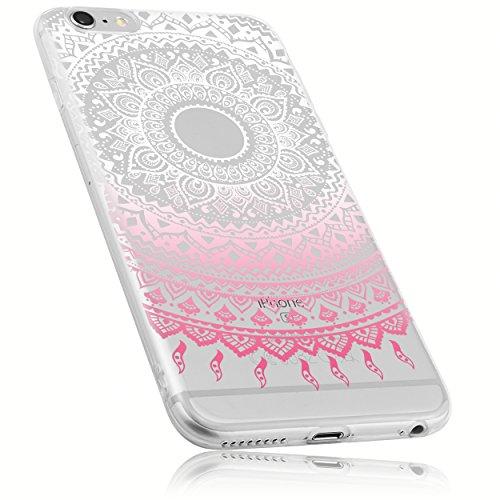 mumbi Schutzhülle für iPhone 6 6s Hülle im Mandala Design transparent rosa