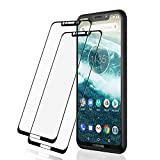 L K Screen Protector for Motorola One, Tempered Glass [9H Hardness] [3D Curved] [Full Coverage] Screen Protective Film - Black [2 Pack]