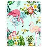 Dick Decke Weich Wärme Gemütlich Flanell-Fleece Sofadecke Deckeldecke Tropische Pflanzen palmöl rosa flamingos. 150 x 200 cm