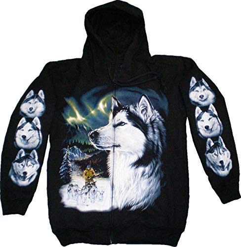 Jacke 4619 Herren Damen Pullover Kaputzen Jacke S-XL black Sherpa Hoodie Sweatshirt Kaputzen Pulli #1-S -