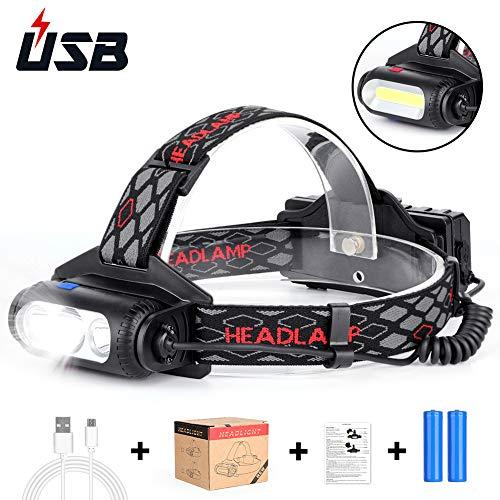 Haofy Lampada Testa LED Ricaricabile, Torcia Frontale USB e Impermeabile con 3000 Lumens, 8 Modalità di Luce Bianca e Rossa, Sensore di Movimento per Campeggio Escursioni Corsa Sport